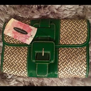 Chinese Laundry Straw & Green Clutch NWT